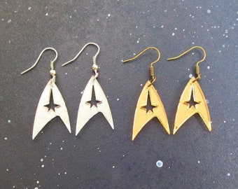 Star Trek Earrings, Enterprise Starfleet Command Insignia Logo Earrings in Gold OR Silver Hypoallergenic Option