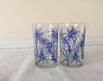 Vintage Swanky Swig Juice Glasses Set of 2 Starburst Flower Pattern