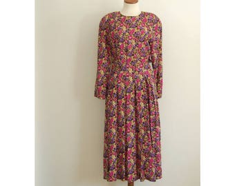 floral midi dress - 80s vintage pink black full skirt long sleeve day maxi seinfeld elaine pleated ditzy grunge hippie boho tea novelty