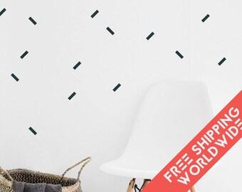 Confettis Black Wall Decals Decor Stickers Straight Line Nursery Baby Rectangle Modern & Scandinavian - Sets of 25