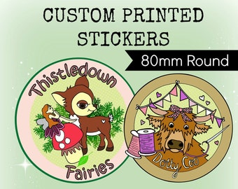 Custom Stickers Design - Plus x48 Professionally Printed 80mm ROUND Stickers