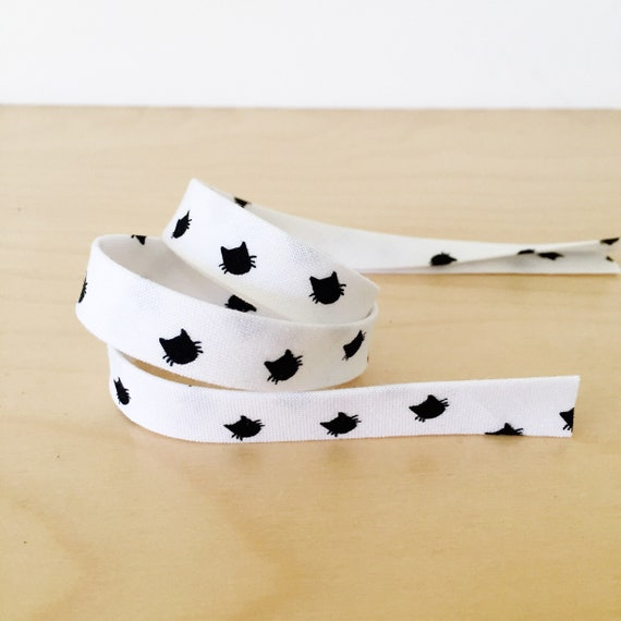 "Bias tape in Black Cats on White Cotton- 1/2"" Double-fold binding- Riley Blake Meow collection- 3 yard roll"