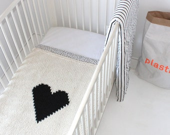 Heart Baby Blanket Crib Size Hand Knit Baby Blanket for New Baby, Baby Shower