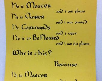 Slave's prayer for Master