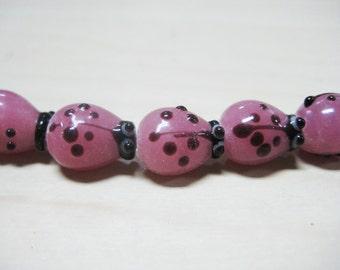 Pink Ladybug Glass Beads, 12x10mm, 30pcs