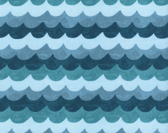Waves in turquoise from the Amalfi collection by Rifle Paper and co for Cotton and Steel - 8048-01