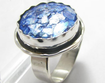 Stunning One Of A Kind Adjustable Spiral Roman Glass 925 Sterling Silver Ring