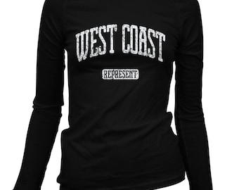 Women's West Coast Represent Long Sleeve Tee - S M L XL 2x - Ladies' West Coast T-shirt, California, Oregon, Washington - 3 Colors