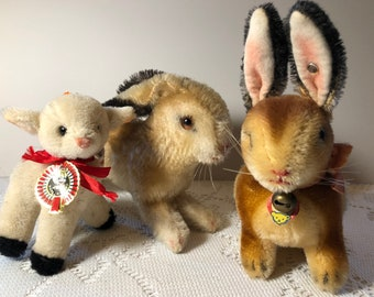 STEIFF Rabbits & Wool Lamb