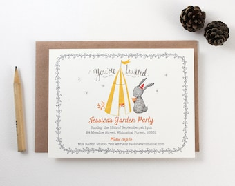 10 Personalized Invitations - Rabbit, Garden and Play Tent