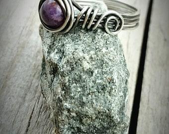Ring-Semi Precious-Purple Crazy Lace Agate-Sterling Silver-Wire Wrapped