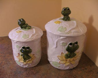 Pair of Vintage 1970s Sears Neil The Frog Canisters with lids