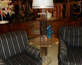 Deco 1930's Lucite Table with Lamp