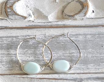 Sterling Silver Hoop Earrings / Silver Hoops / Hammered Hoops / Peruvian Opal Earrings / Sterling Hoops / Sterling Earrings / Koali
