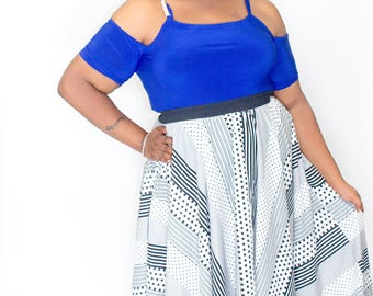 Trendy Plus size Black and white Maxi Skirt