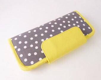 Gray yellow wallet, grey wallet, fabric wallet with zipper pocket, bifold purse