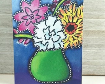 Spring Flower Bouquet -  Blank Greeting Card - Any Occasion
