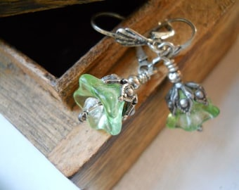 Clear Green Bellflower Earrings