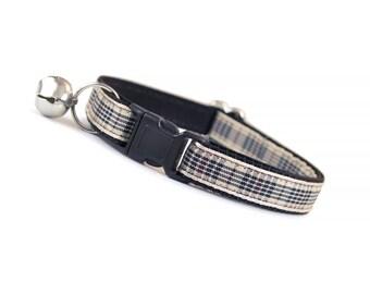 "Cat Collar - ""Nova"" - Blackberry Tartan Check Plaid - Breakaway Safety Buckle or Non-Breakaway - Sizes for Cat, Kitten, Small Dog"