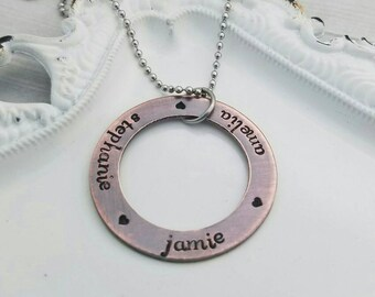 Personalized rustic copper washer kids name necklace, mommy jewelry, children's name jewelry, mothers day