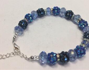 Bracelet Beaded Blue Shades Adjustable Size