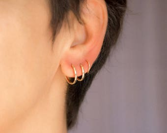 Hoop Earrings in 14k Solid Gold 3 Sizes Infinity Earrings Gold Tube Earrings Elegant Earrings Timeless Gift for Her
