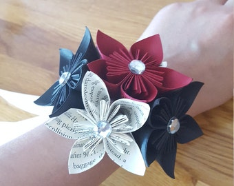 Prom Wrist Corsage, Bridesmaid Corsage, Wedding Corsage, Paper Flowers, Origami Corsage, Paper Flowers, Prom Accessory, Wedding Corsage