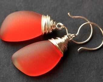 Orange Seaglass Earrings. Orange Earrings. Sea Glass Earrings. Wire Wrapped Wing Earrings. Handmade Jewelry.
