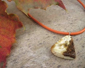 White Baltic Amber Button Necklace, Natural Amber Pendant, Unisex Pendant Man Necklace Orange Leather