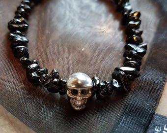Black Spinel Nuggets and 925 Sterling Silver Skull Charm bracelet.