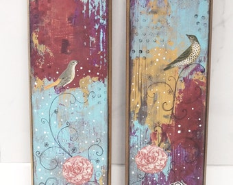 Original Collage Bird Art- Acrylic Painting,  Set Of 2 Paintings on Wood,  Wall Art That Makes a Great Nature Lover Gift