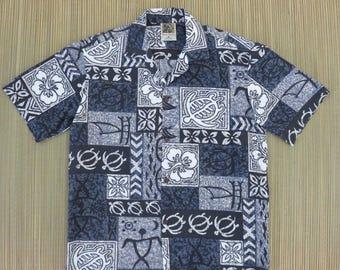 Hawaiian Shirt WINNIE FASHION Vintage Surfer Aloha Shirt Tropical Tribal Tiki Turtles Mens Casual Camp - M - Oahu Lew's Shirt Shack
