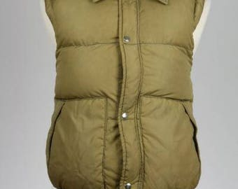 ON SALE Vintage 80s Field & Stream Brown Down Feather Puffy Vest M