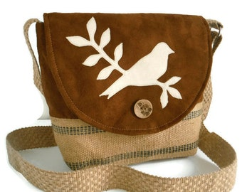 Bird on Branch - Vegan Crossbody Satchel - Faux Suede - Jute - Handmade Applique