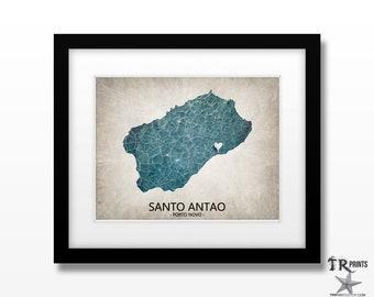 Santo Antao Island Cape Verde Map Art Print - Home Is Where The Heart Is Love Map - Original Custom Map Art Print