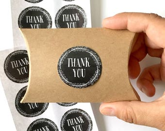 12  thank you stickers - chalkboard thank you label - wedding favor sticker - wedding favors - envelope seals - gift wrap - black stickers