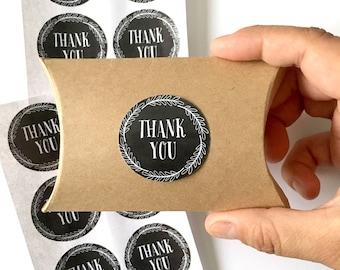 12  thank you stickers - chalkboard thank you label - wedding favor sticker - wedding favors - envelope seals - gift wrap - black stickers