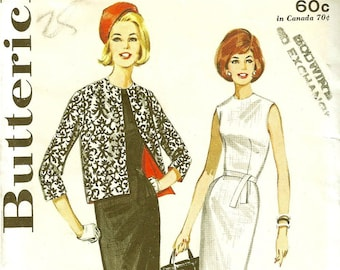 Vintage 1960s Butterick Sewing Pattern 2631 Misses Sheath Dress and Jacket  Size 14