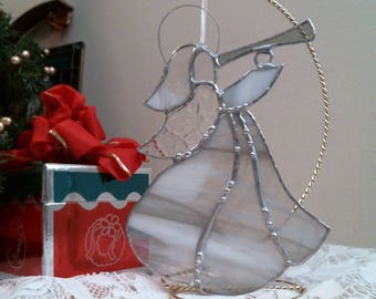 White & Gray Angel Stained Glass suncatcher or ornament