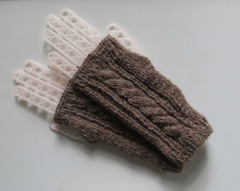 Alpaca Fingerless Gloves, Handmade Gloves, Wrist Warmers, Texting Gloves, Dark Rose Gray