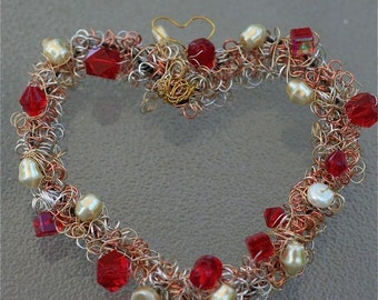 Romantic heart wreath reds and whites crystal glass pearl beads silver copper brass wire  romantic