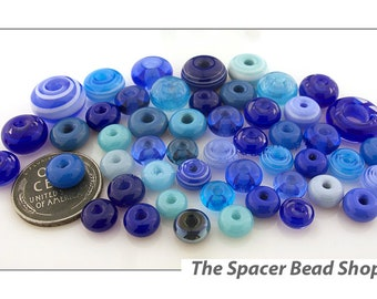 BLUEBERRY HILL Blue SINGLE Beads Assortment Lampwork Spacers Glass Handmade - The Spacer Bead Shop
