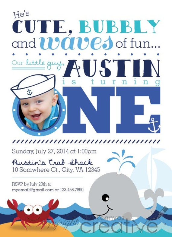 First birthday or party invitation nautical crab and whale like this item filmwisefo Gallery