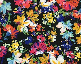 """Painted Flowers Spandex Fabric SALE 4Way Stretch Lycra Knit By The Yard 58"""" Wide"""