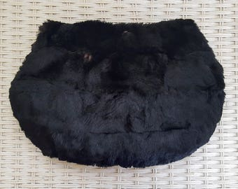 vintage 1930s black fur muff purse