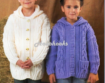 Instant download pdf knitting pattern to make a boys or girls zip baby childs childrens aran hooded jacket knitting pattern pdf aran cardigan with hood cable jacket 22 32aran worsted 10ply instant download dt1010fo
