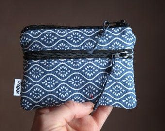 boho wallet / vegan coin purse women / small card holder / change pouch / blue