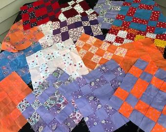 Set of 16 Vintage Machine Pieced Quilt Blocks (Not Sure of Pattern)