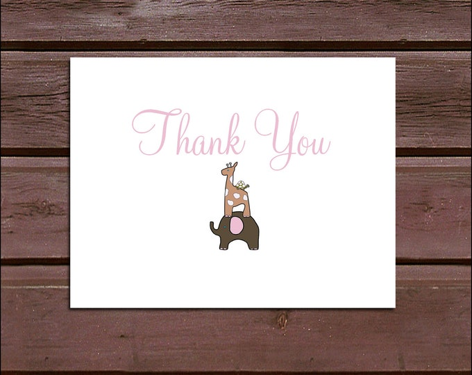 25 ELEPHANT & GIRAFFE Baby Shower Thank You Notes. Price includes printing.