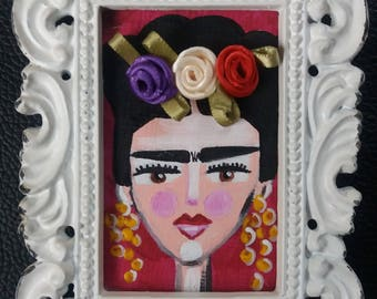 Small framed Frida Kahlo Art Painting (Hand Painted) with magnet